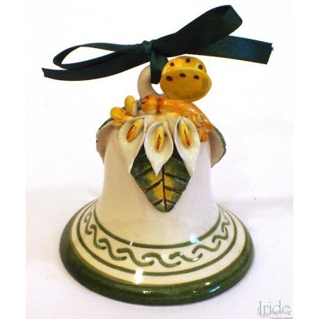 Campanella media in ceramica con applicazione farfalla