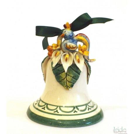 Campanella media in ceramica con applicazione gallo
