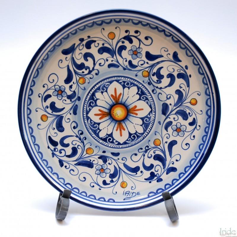 Piatto da parete con decoro ornato fiori blu ceramiche for Piastrelle da parete
