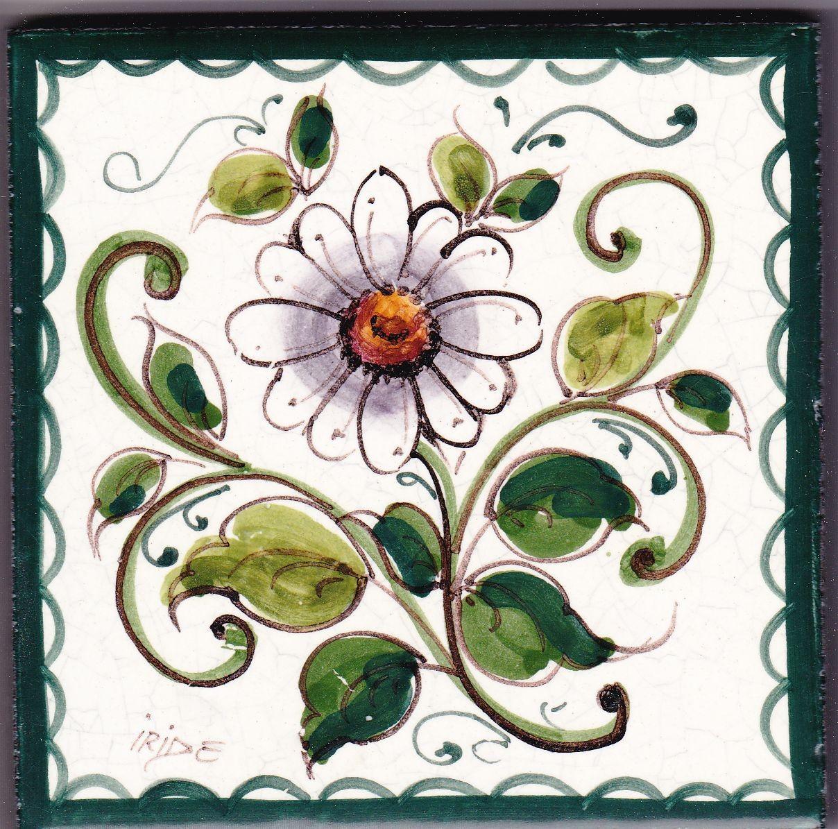 Mattonella in ceramica modello fiori - Ceramiche Artistiche Iride
