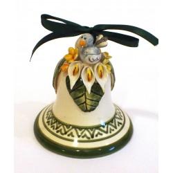 Campanella media in ceramica con applicazione uccellino