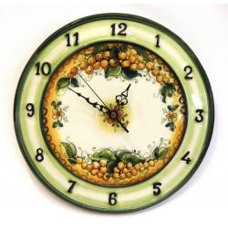 Orologio con numeri laterali decoro uva gialla