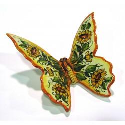 Farfalla lucida decoro fiori cm 20 x 18