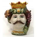 Testa di moro modello Re ( Caltagirone ) con melograni e uva