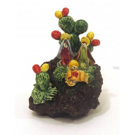 Presepe in pietra lavica con pianta di fico d'india