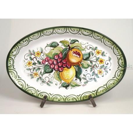 Piatto Ovale Frutta Mista , cm . 48 x 30