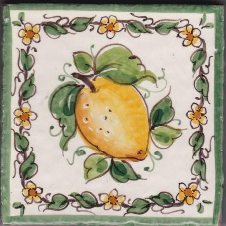 Mattonella in ceramica modello limoni e fiori