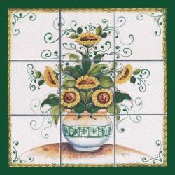 Pannello di Mattonelle in ceramica decoro vaso girasoli