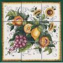 Pannello di Mattonelle in ceramica decoro frutta assortita e girasoli