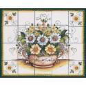 Pannello di Mattonelle in ceramica decoro cestino fiori