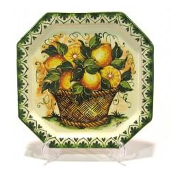 Piatto Ottagonale decoro Cestino Limoni