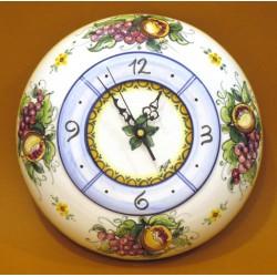 Orologio bombato grande, decoro Melograno e Uva