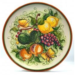 """Piatto da parete con decoro - """"Frutta e farfalle"""""""