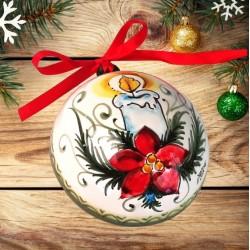 """Semisfera palla di natale piccola in ceramica decorata a mano, decoro """"candela e stella di Natale"""""""