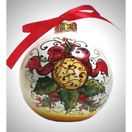 """palla di natale piccola in ceramica decorata a mano, decoro """"Sfera di Natale"""""""
