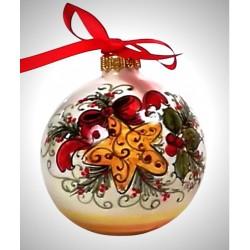 """palla di natale piccola in ceramica decorata a mano, decoro """"Stella"""""""