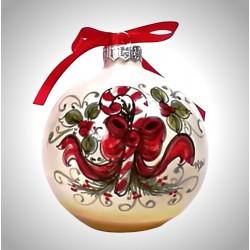 """palla di natale piccola in ceramica decorata a mano, decoro """"Bastoncino di zucchero"""""""