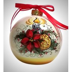 """palla di natale piccola in ceramica decorata a mano, decoro """"candela - stella"""""""