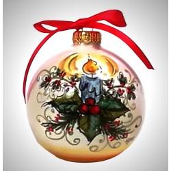 """palla di natale piccola in ceramica decorata a mano, decoro """"candela - agrifoglio"""""""