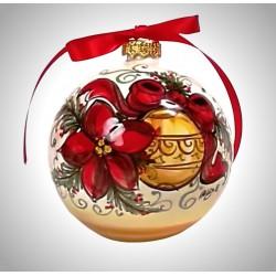 """palla di natale piccola in ceramica decorata a mano, decoro """"stella - sfera"""""""