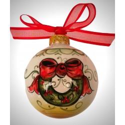 """palla di natale piccola in ceramica decorata a mano, decoro """"stelle - bastoncino"""""""