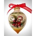"""palla di natale a punta in ceramica decorata a mano, decoro """"bastoncino"""""""