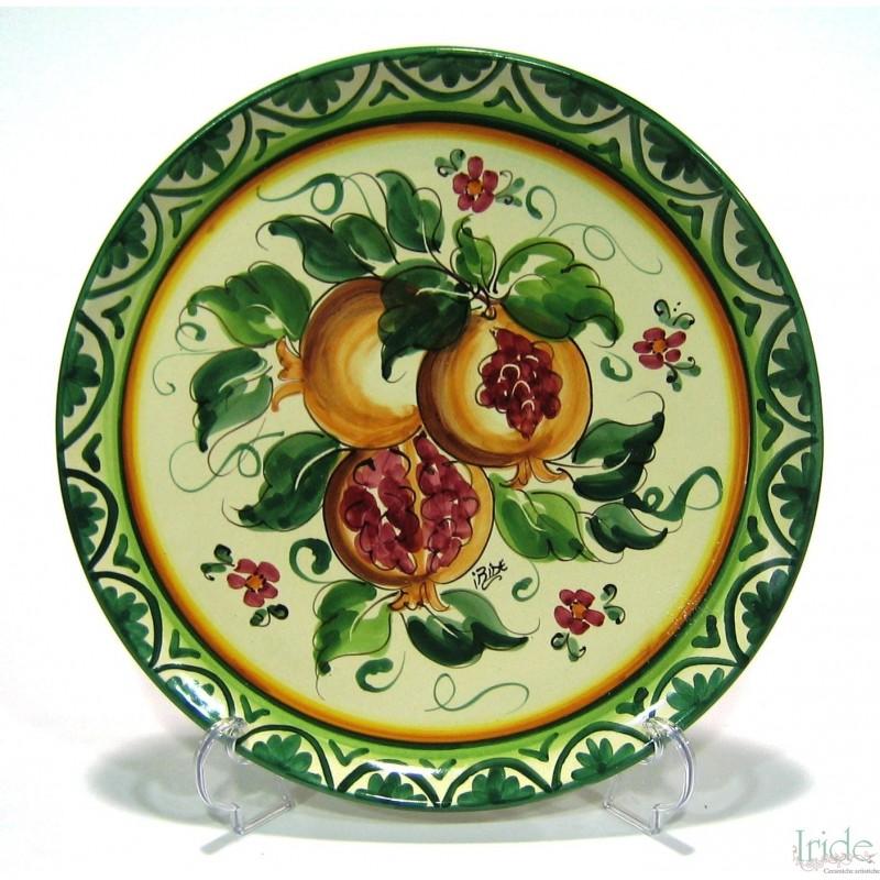 Piatto da parete decoro frutti di melograno ceramiche - Piatti di frutta decorati ...