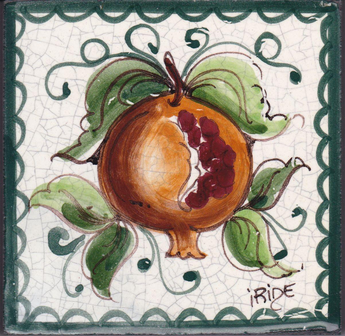Piastrelle Cucina Con Fiori mattonella in ceramica modello melograno - ceramiche artistiche iride