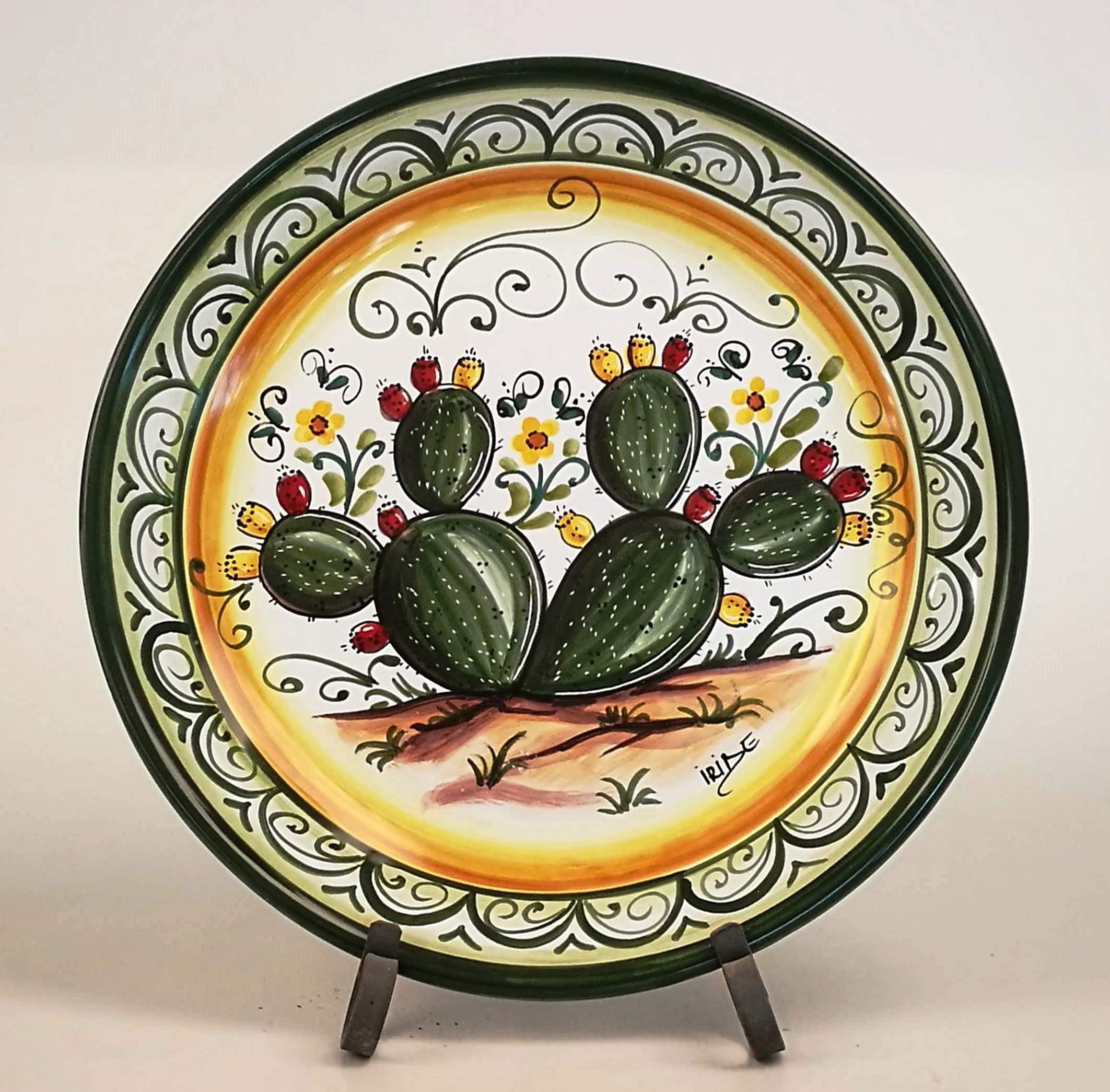 """Come Appendere Piatti In Ceramica piatto da parete decoro """"pianta di fico d'india """" - ceramiche artistiche  iride"""